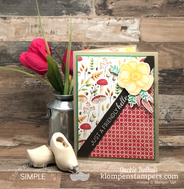 Quick-Greeting-Card-Handmade-with-Red-and-Mushroom-Designer-Paper-plus-a-yellow-flower
