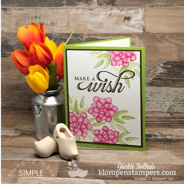 Make A Wish Birthday Card with Pink Flowers and Green Leaves