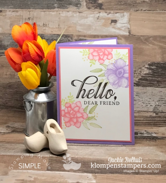 Thinking of You Card with Purple and Pink Flowers and Green Leaves