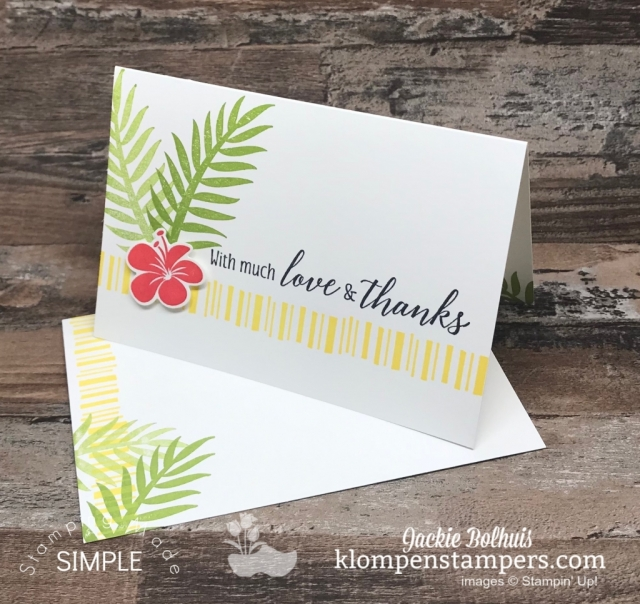 Thank-You-Card-Hand-Stamped-by-Jackie-Bolhuis-Green-Leaves-and-Red-Flower