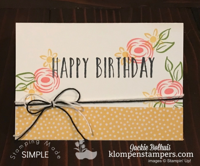 SIP Stamping with Perennial Birthday with Pink Flowers and Yellow Trim