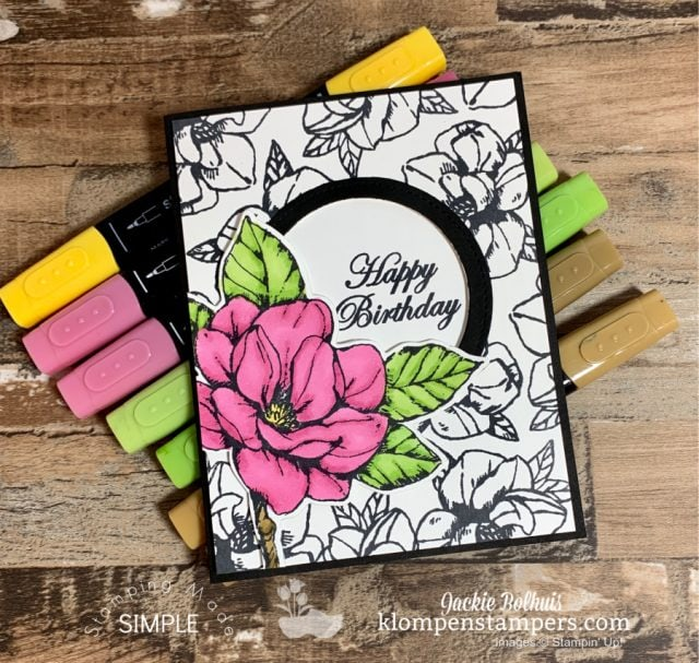 Birthday-Card-with-Good-Morning-Magnolia-Black-and-White-with-Bright-Pink-Flower