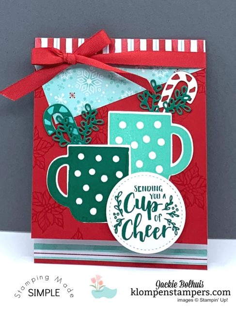 Easy-DIY-Christmas-Card-Handmade-with-Stacked-Mugs-on-Red-Card-Base
