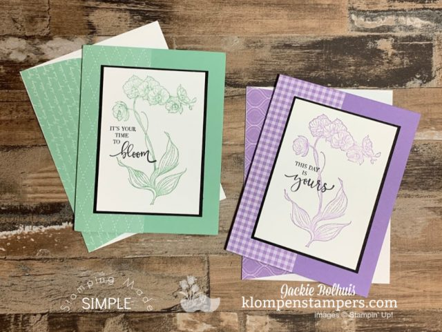 4-Simple-Greeting-Cards-Handmade-Stamped in-Monochromatic-Colors